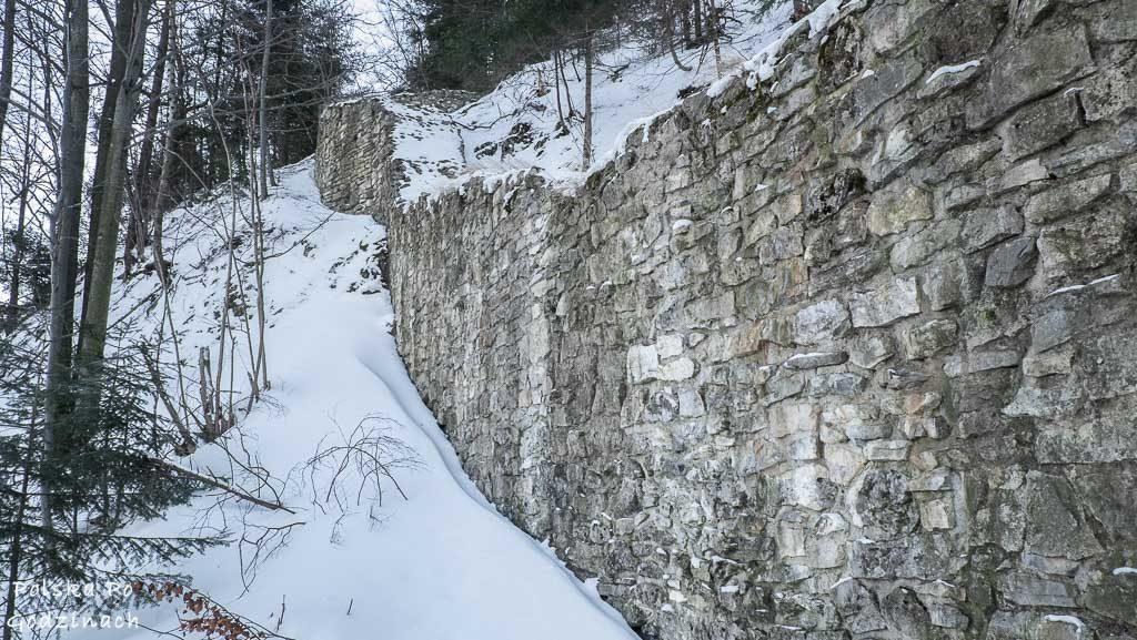 Pozostałości murów obronnych Zamku Pienińskiego.