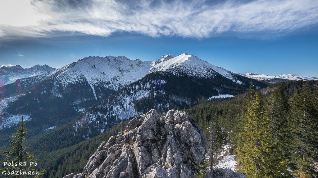 Widok na Tatry ze szczytu Gęsiej Szyi