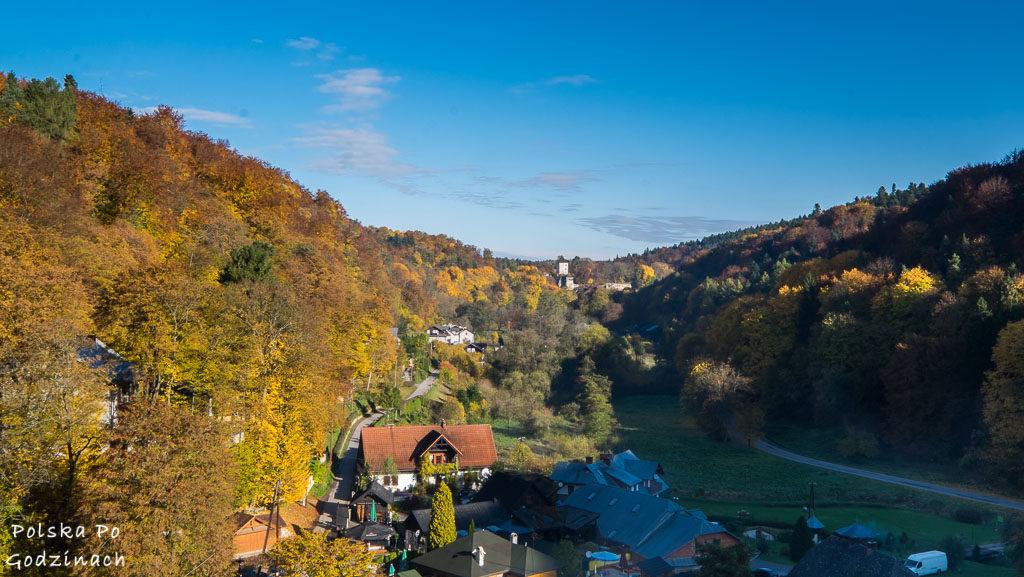 widok na dolinę prądnika z tarasu widokowego na terenie zamku w ojcowie