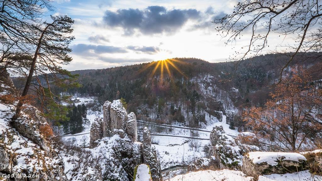 Dolina Prądnika zimą.
