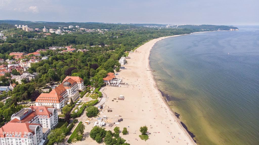Sopot atrakcje turystyczne - widok na plażę z lotu ptaka