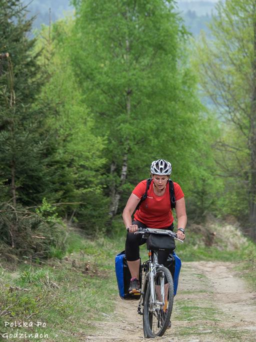 Podjazd rowerem pod Skalnik w Rudawach Janowickich