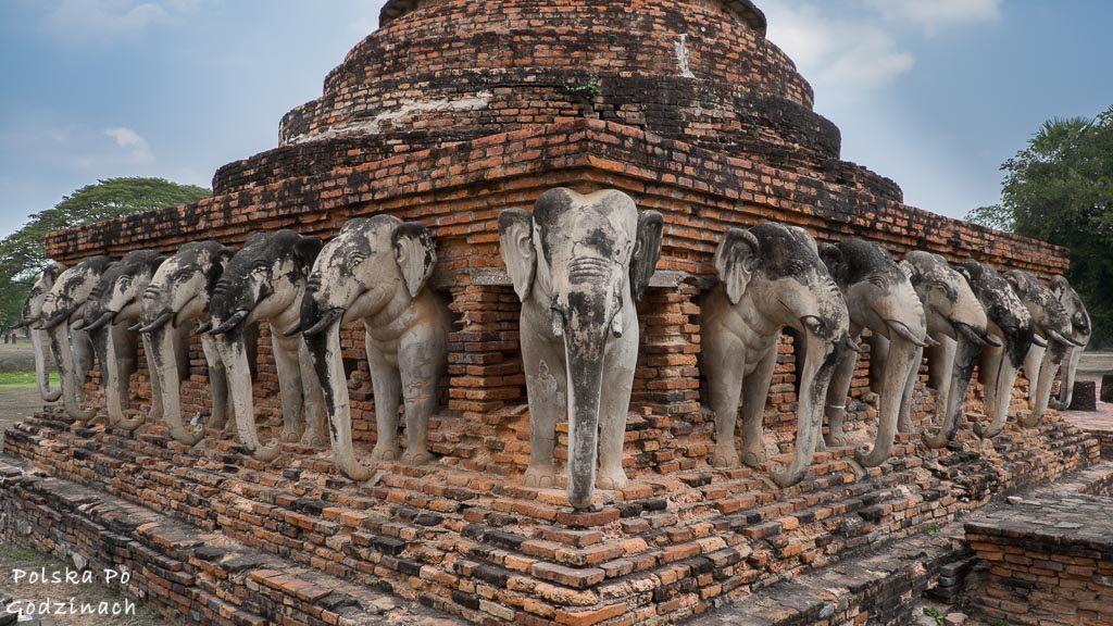 świątynia ze słoniami w Sukhothai
