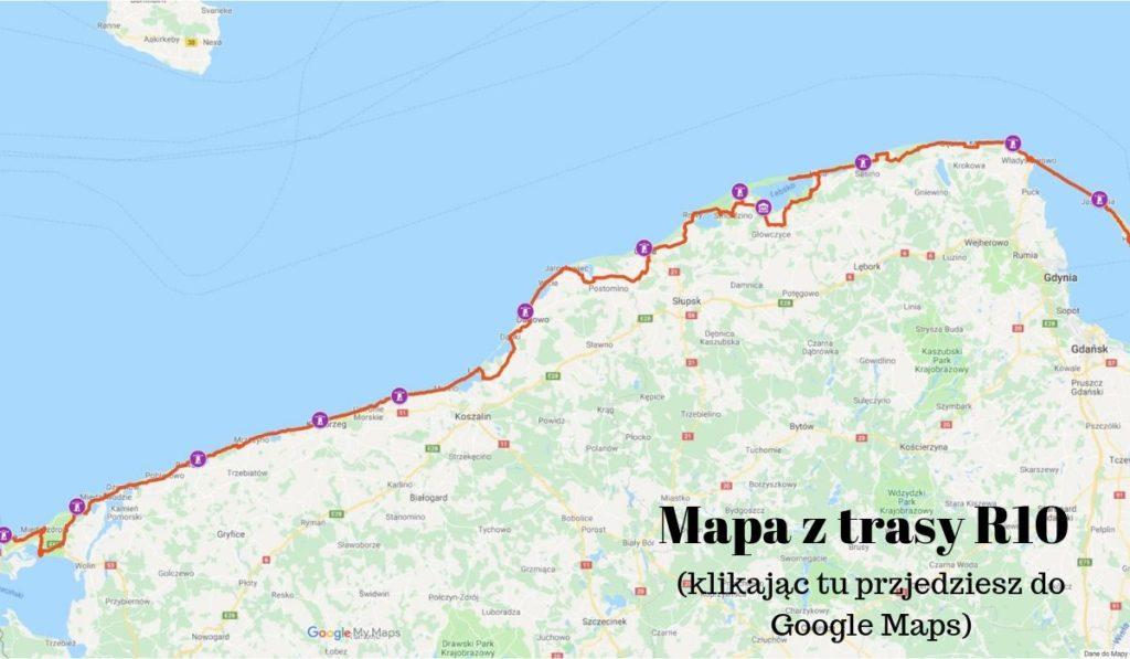 mapa szlaku rowerowego R10