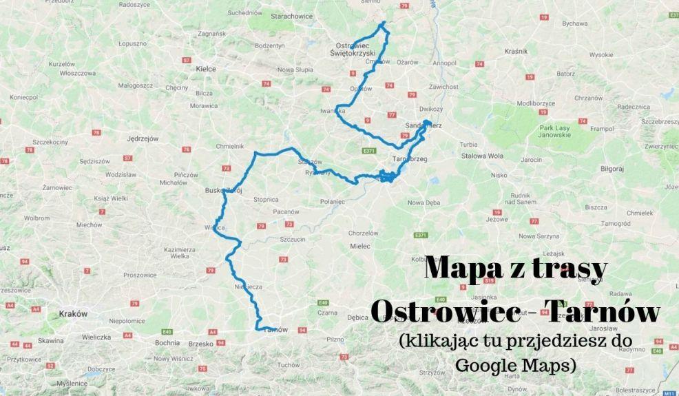 mapa trasy rowerowej przez Świętokrzyskie