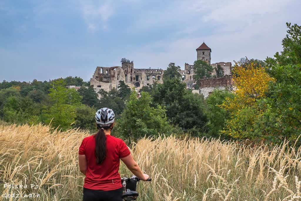 widok na zamek na trasie rowerowej z Krakowa do Tenczyna