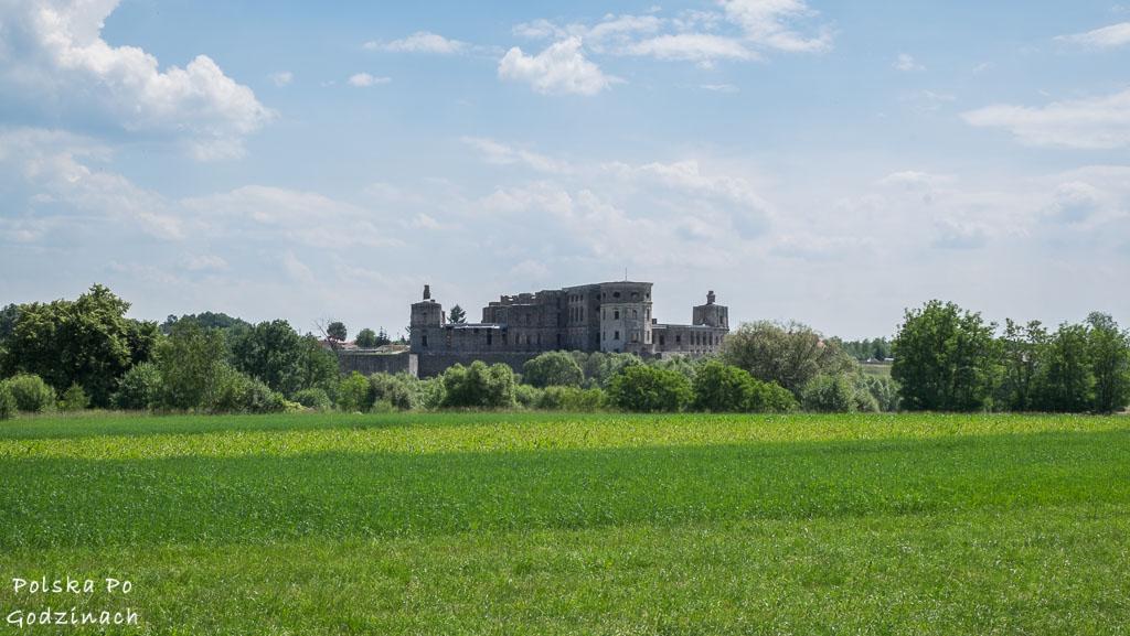 Zamek Krzyżtopór widziany z daleka wśród zielonych pól i drzew