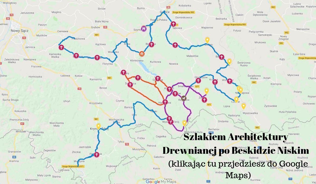 mapa trasy rowerowej przez Beskid Niski