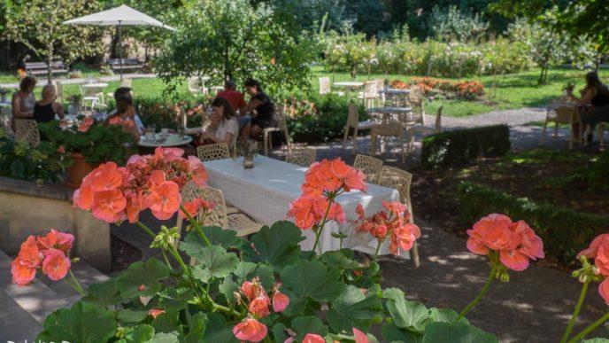goście przy stolikach i ukwiecony ogród Meho Cafe