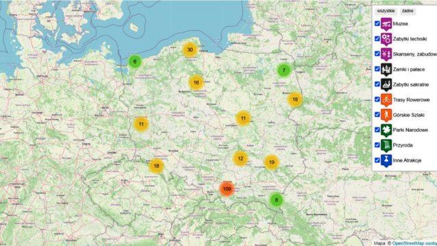 podróże i atrakcje w Polsce na mapie
