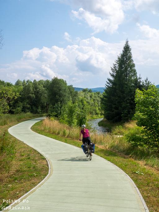 Ścieżka rowerowa wzdłuż Muszynki z Krynicy do Muszyny.