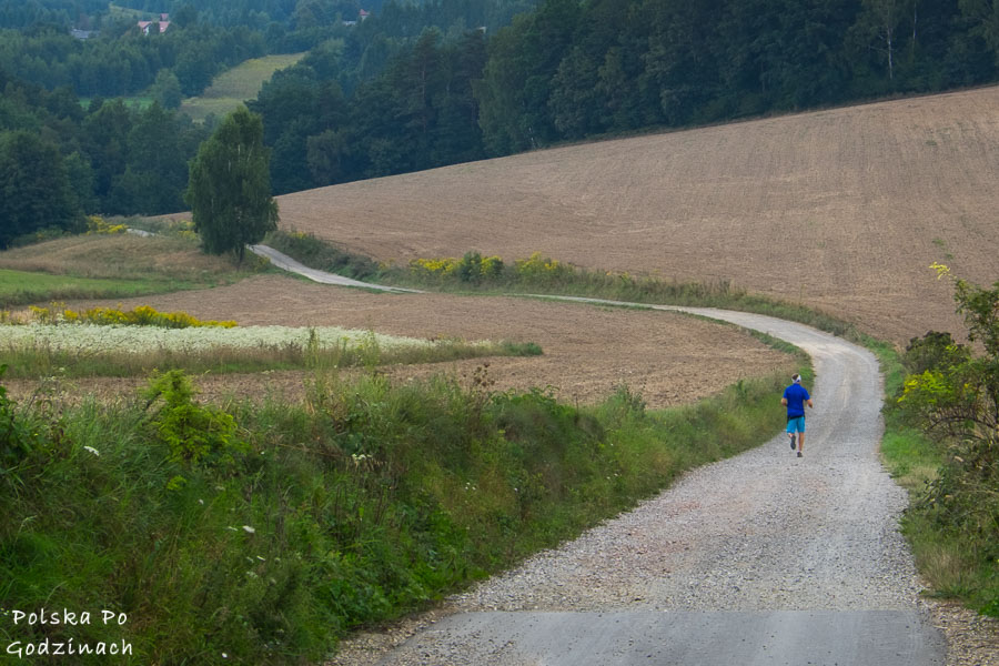 biegacz w na szutrowej drodze pomiędzy Dolinkami Krakowskimi