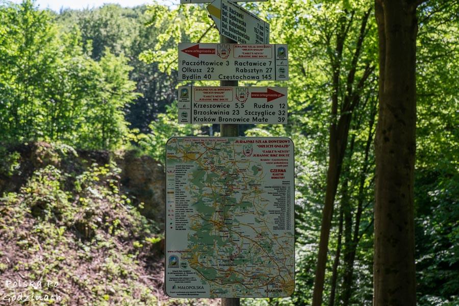 Znak ze szlakami pieszymi i rowerowymi w Dolinie Eliaszówki